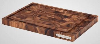 Planche à découper avec rigole en bois debout d'acacia
