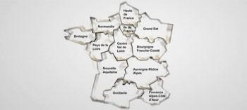 Cadre inox forme régions de France
