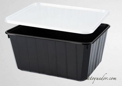Barquette plastique noir avec couvercle 75 cl - Cartybox