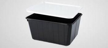 Barquette plastique noir avec couvercle 180 cl - Cartybox