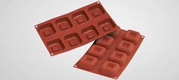 Moule silicone 8 savarins carrés Silicon Flex
