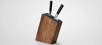 Bloc à couteaux universel incliné en bois de noyer