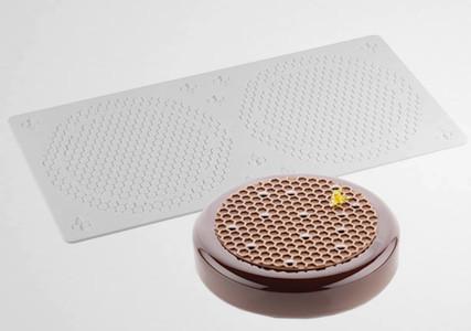 Moule silicone 2 décors alvéoles et abeilles Silikomart Professionnel