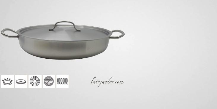 Plat à paella inox avec couvercle